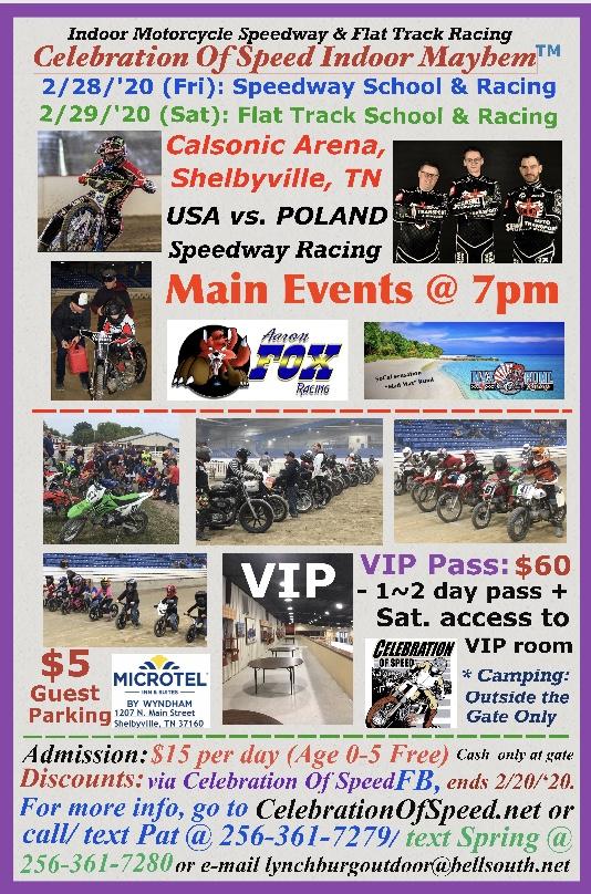 Celebration of Speed Indoor Motorcycle Speedway & Flat Track Racing